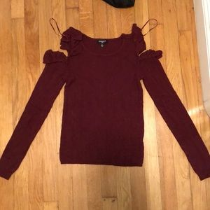 Maroon cold shoulder ruffle sweater
